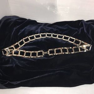 Silver tone Squared Chain Belt